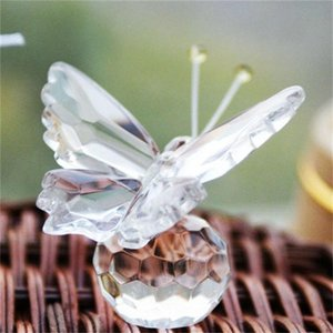 Wholesale Mini Originality Crystal Butterfly Ornament Transparent Baby Happy Birthday Activity Small Gift Exquisite Eco Friendly Artifact zl ff