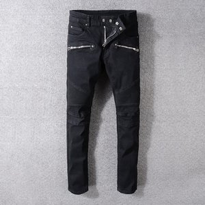 Balmain New Fashion Men holes jeans Top quality Men Runway Biker Jeans Man straight Slim Denim casual Trousers Fashion Casual Designer