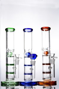 Wholesale colorful Glass Ice Bongs with Double honeycomb and shower perc ice catcher glass tube Water Pipes with mm joint