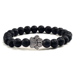 Wholesale Natural Matte Black Lava Volcanic Stone Print Charm Bracelet Homme Femme Pet Memorial Cat Dog Lovers Jewelry Bracelets Gifts