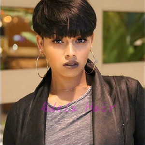 Wholesale short hairstyle cuts for sale - Group buy Human Hair Wig Straight New Arrival Rihanna Hairstyle Short Pixie Cut Wigs For Black Women Full Lace Front Bob Hair Wigs