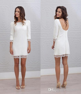 Designer Short Mini Sheath Fitted Wedding Dresses 3 4 Sleeves Sexy Backless Informal Beach Casual Reception Bridal Gowns