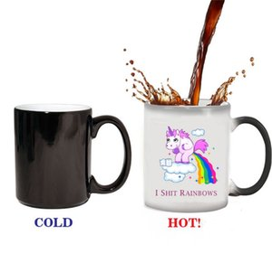 Wholesale Fun Ceramic Unicorn Mugs Rainbow Horse Water Bottle Magic Color Changing Coffee Milk Cup Gift For Friends Hot Sale yya Y