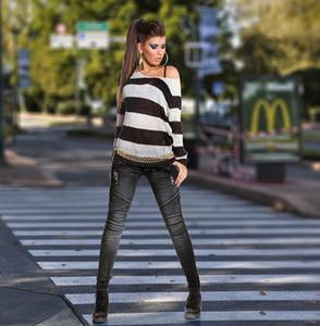 Locomotive models Europe and America women's hole hole slim stretch thin women's denim pencil pants feet pants