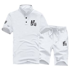Wholesale Cotton New Summer Short-sleeve T-shirt + Short Pants Track Suits Set Men Set Costumes Casual Man Suits White Grey M~3XL