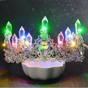 Romantic Women Blue Light Tiara King Crown Rhinestone Crystal Luminous Tiaras Wedding Party Bridal Hair Accessories Head Tiaras