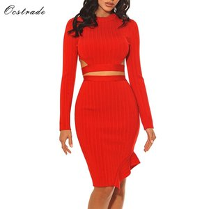Wholesale Ocstrade Women Party Dress High Quality Long Sleeve Bodycon Dress Red Ribbed Side Cut Out Sexy Two Piece Bandage Set