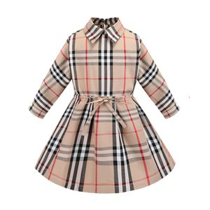 Wholesale Long Sleeved Baby Cotton Dress Classic Plaid Girls Casual Dress Kids Party Dress Children Clothing for T