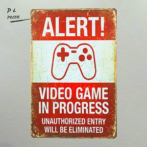 Wholesale Vintage Tin sign Alert Video Game In Progress Retro Art Poster Kid play Room Home Decor Craft Wall Decor