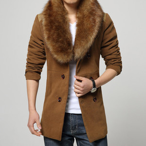 Wholesale New Brand Men Wool Blends Coat With Luxury Rabbit Fur Collar For Men trend Winter soft Medium long all match Trench Coat