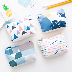 Wholesale Simple Wallet Canvas Small Pouch Cute Coin Purse for Girl Key Wallet Children Mini Geometric Patterns Case Storage Bag