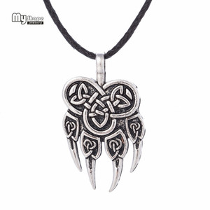 Wholesale My Shape Viking Wolf Pendant Necklaces Pendants Men Nordic Runes Viking Choker Bear Charm Statement Necklace Women