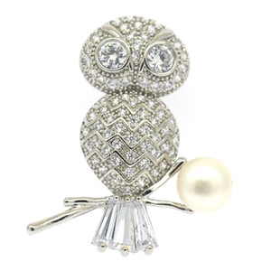 Wholesale European and American personality vintage owl pearl brooch women s simple pearl zircon brooch jewelry