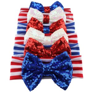 Wholesale Girls th of July Headband For Independence Day Hair Accessories Kids Patriotic Big Sequin Hair Bow American Flag Hair Band