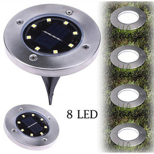 Wholesale Led Solar Light Outdoor Waterproof cool White 8 Led Garden Decoration Solar Powered Lawn Ground Light for Home Pathway Deck Lamp