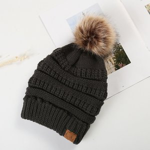 Winter hat 11style Hats Winter Knitted Fur Poms Beanie Label Fedora Luxury Cable Slouchy Skull Caps Fashion Leisure Beanie Outdoor Hats