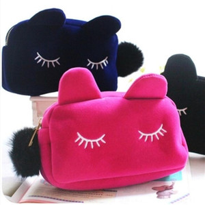 Wholesale Cute Portable Cartoon Cat Storage Case Travel Makeup Flannel Pouch Cosmetic Bag Korean and Japan Style