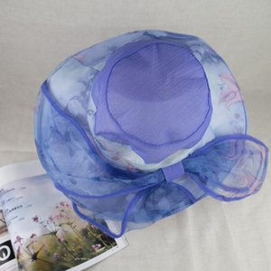 Wholesale 2019 New Organza Printed Floral Trim Fancy Summer Hawaii Hat Elegant and Vogue for Ladies EPU MH1813