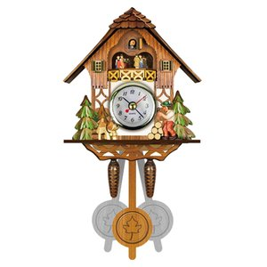 Wholesale Antique Wooden Cuckoo Wall Clock Bird Time Bell Swing Alarm Watch Home Art Decor Hot Sale