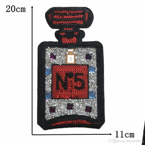 Large Sequins Patch Perfume Bottle Iron On Applique For Clothes Stickers Fabric Sewing Accessories Embroidery Patch Decals