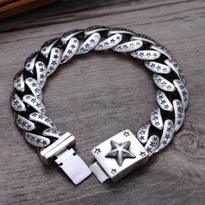 Wholesale 925 Sterling Silver Thai Vintage Pendant Thai Retro Men Jewelry Wide Heavy Stars Chain Link Bracelets CH058880