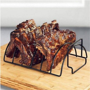 Wholesale Non Stick Metal Wire BBQ Grill Stand Steak Holder Roasting Rib Rack Kitchen Tool Barbecue grill supplies barbecue tool