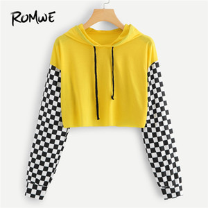 Wholesale Romwe Sport Gingham Long Sleeve Drawstring Hooded Sports Women Yellow Crop T Shirt Autumn Sportswear Gym Running Tees