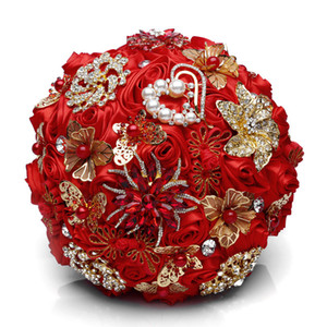 Wholesale Charming Red Wedding Brooch Bouquets Gold Jewelry Bridal Flower ramos de novia Rhinestone Brooches Crystal Wedding Bouquet
