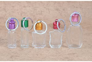 Colorful car pendant decoration perfume bottle with keychain glass essential oil bottle with key ring wen5632