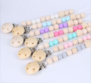 Wholesale Baby Wood Bead Pacifier Chain Clips with Cover Foreign Trade Hot Sale Hand Made Natural Infant Baby Gracious Pacifier Holder