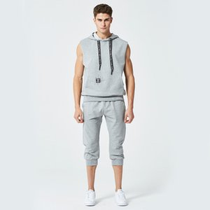 Wholesale Summer New Fashion Mens Tracksuit Men Short Sleeveless Pullover With Casual Capri Jogger Pants Suits Homme Sportsuit