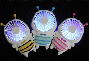 Wholesale 2018 NEW Handy USB Fan Lovely Mini Bee Handle Charging Electric Fans Thin Handheld Portable Luminous Night Light For Home Office Gifts