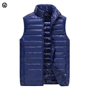 Wholesale SD Fashion Vest Jacket Men Sleeveless New Brand Casual Coats Male Ultralight Vest Mens Warm Waistcoat 3XL Autumn and Winter Coat