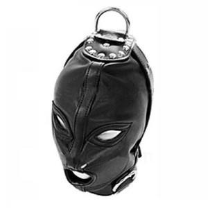 Wholesale Sex Toys Hood Mask Bdsm Bondage Restraints Pu Leather Eye Mask Slave Open Mouth And Eye Hood Toys For Adult Head Gear Products
