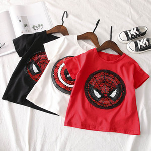 Spiderman Captain Reversible Sequins T-shirt bling change design Tee Tops for Kids Boys Girls Summer Embroidered Reverse Patch T Shirts Hot