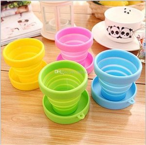 Wholesale 2018 creative Silicone Folding Cup ML Collapsible Water Cup colors Outdoor Camping Travel drinkware Foldable Cups C4759