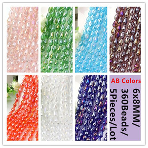 Wholesale 360Beads Pieces x8MM AB Colors Waterdrop Teardrop Crystal Spacer Beads DIY Accessories Jewelry Or Decoration Blue Green Purple Red