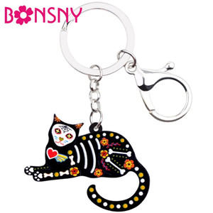 Wholesale Acrylic Cartoon Floral Halloween Cat Kitten Key Chains Keychains Rings Animal Jewelry For Women Girls Handbag Charms Gift