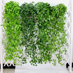 Wholesale 10pcs Green Artificial Leaves Fake Flowers Hanging Vine Plant Leaves Foliage Flower Garland Home Garden Wall Hanging Decoration AVL01