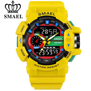 Wholesale SMAEL M Waterproof Men Sports Watch S Shock Military Watches LED Quartz Dual Display Outdoor Men s Wristwatches Reloj Hombre