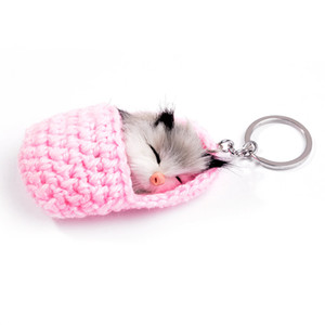 Cute Sleeping Cat Pompom Keychains For Women Girls Handmade Woven Booties Faux Rabbit Fur Kitten Wool Shoe Key Chains Fluffy Car Key Rings