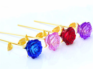 Crystal Glass Rose Flower Figurines Craft Wedding favors and gifts Valentine's Day Souvenir Table Decoration Ornaments