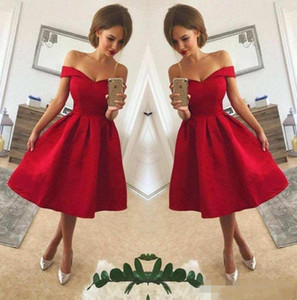 2018 Simple Red Off The Shoulder Satin A Line Short Party Dresses Ruched Knee Length Short Homecoming Cocktail Prom Gowns on Sale