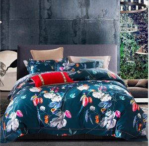Winter Simple Ruffle Flounce Style Cotton a family of four bedding Set European high-grade Satin Thin 4 Duvet Cover Set on Sale