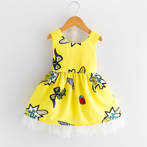 Children's yarn dress summer new girls cartoon print backless bow dresses baby girl sleeveless princess dress