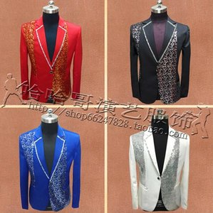Wholesale Stage Singers Clothes Men Suits Designs Masculino Homme Terno Jacket Men Sequins Blazer Dance Star Style Dress Punk Red Blue