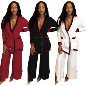 Wholesale 2019 african pants suit women long sleeve tops pant suit clothing africa ladies pink blue black casual lady clothes outfit