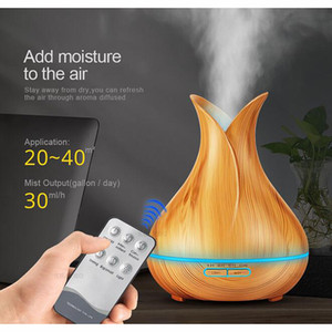 Wholesale 400ml LED Aroma Essential Oil Diffuser Ultrasonic Air Humidifier conditioners with Wood Grain Color Changing LED Lights Mist Maker