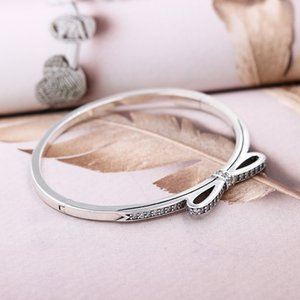 Wholesale Bow Entwined Radiant Hearts Twinkling Forever Bangle Fit Bracelet Sterling Silver Bead Charm Jewelry