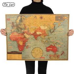 Large World Geography Map Wall Sticker Art Bedroom Home Decoration Wall Sticker Poster 70X51.5cm